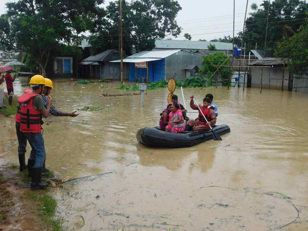 CONTINGENCY MEASURES: Flooding of the river Howrah due to two-day-long monsoon downpour in Agartala, UNI