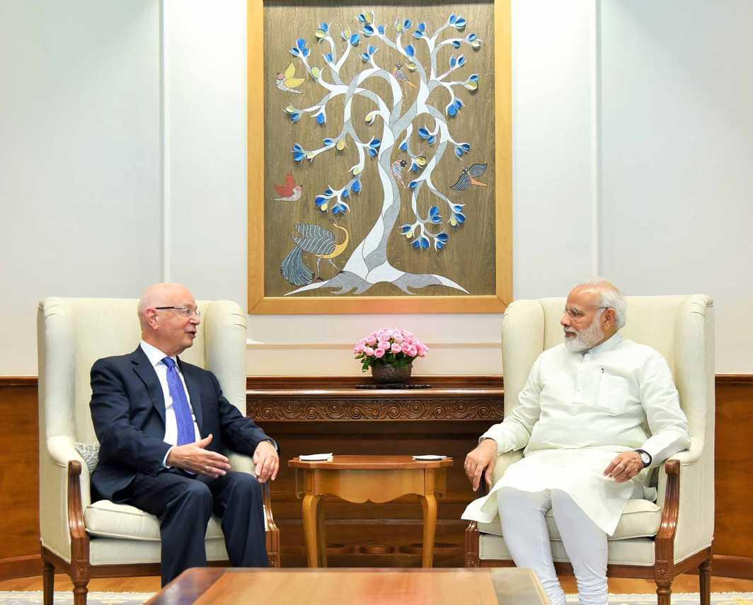 TREE OF LIFE: Founder and executive chairman of the World Economic Forum, Professor Klaus Schwab, calls on the prime minister, Narendra Modi, in New Delhi, UNI