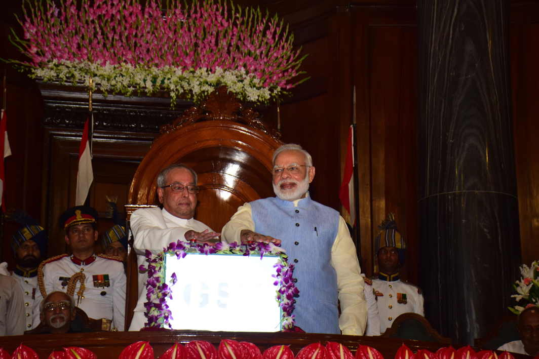 NEW TAX REGIME: President Pranab Mukherjee and Prime Minister Narendra Modi launch the GST during a special session of parliament in New Delhi on Saturday, UNI