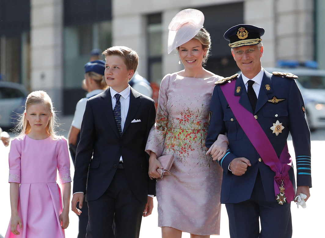 ROYAL FAMILY: Belgium's King Philippe, Queen Mathilde and their children (L-R) Princess Eleonore and Prince Gabriel leave the Sainte-Gudule Cathedral after a religious service (Te Deum) on the Belgian National Day in Brussels, Reuters/UNI
