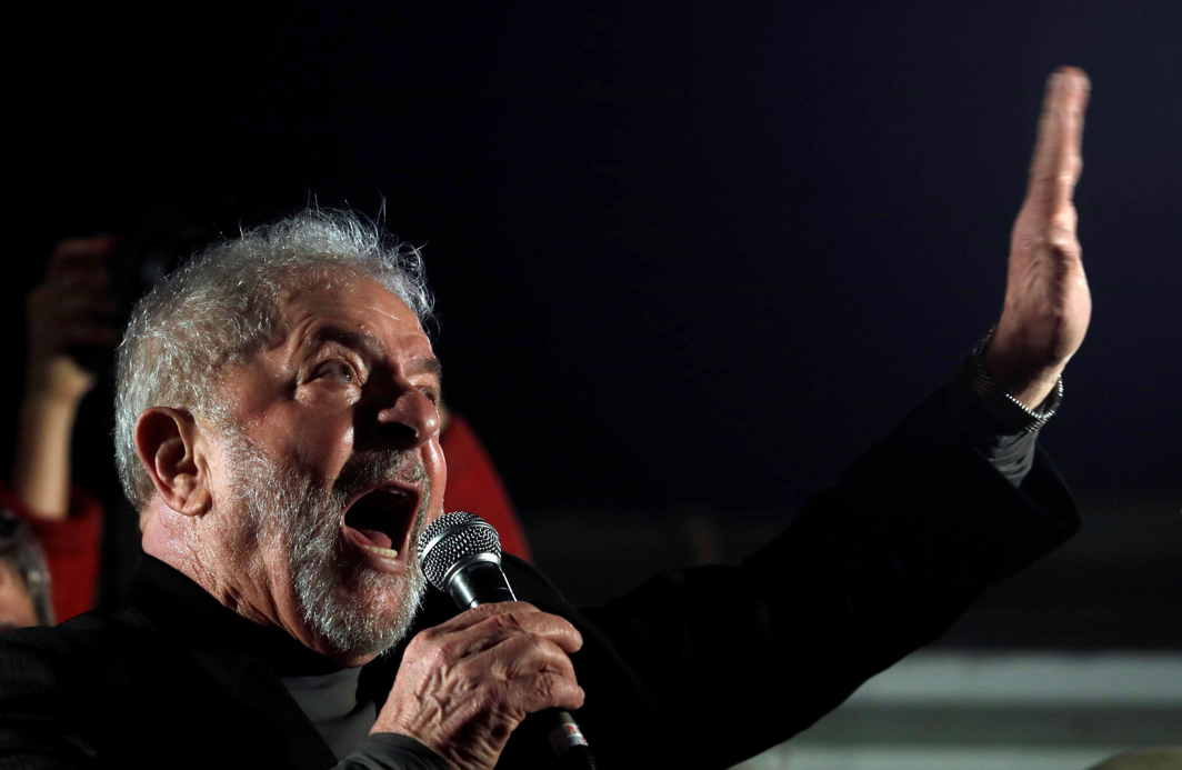 WRONGDOER OR WRONGED? Former Brazilian President Luiz Inacio Lula da Silva speaks at a protest against his conviction on corruption charges in Sao Paulo, Brazil, Reuters/UNI