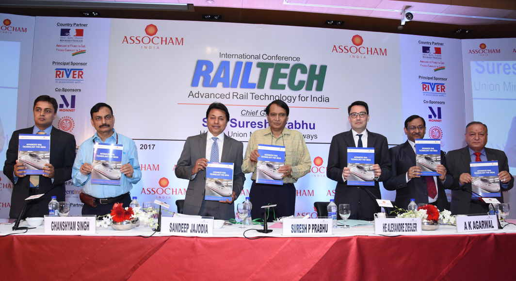JOINT INVESTMENT: Suresh Prabhu, Union Minister for Railways, releases the Conference Background Paper along with (L-R) Jyoti Prakash Gadia, Managing Director, Resurgent India Limited, Ghanshyam Singh, Member (Traction), Railway Board, Sandeep Jajodia, President, ASSOCHAM, Alexandre Ziegler, Ambassador, Embassy of France, AK Agarwal, Chairman, ASSOCHAM National Council on Rail Transport and DS Rawat, Secretary General, at an International Conference on RAILTECH 2017 in New Delhi, UNI