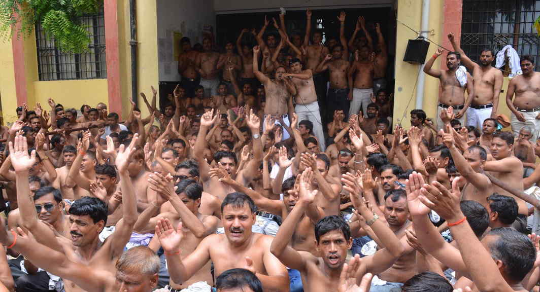 WITHOUT WORK: A topless demonstration being staged by 'Shiksha Mitras' in protest against the Supreme Court's decision of quashing their appointment as regular teachers, in Mathura, UNI
