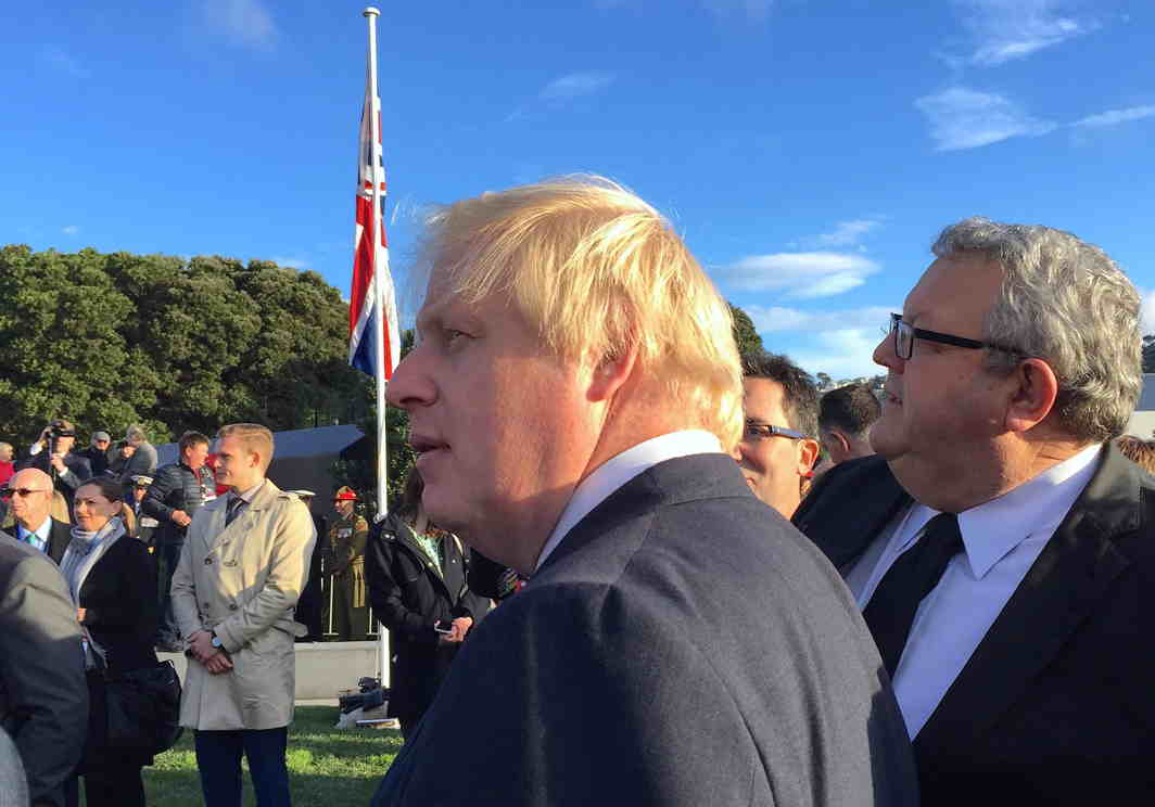 PAY HEED TO HISTORY: British foreign secretary Boris Johnson stands with officials during a ceremony to unveil a memorial at the Pukeahu National War Memorial Park in Wellington, New Zealand, Reuters/UNI
