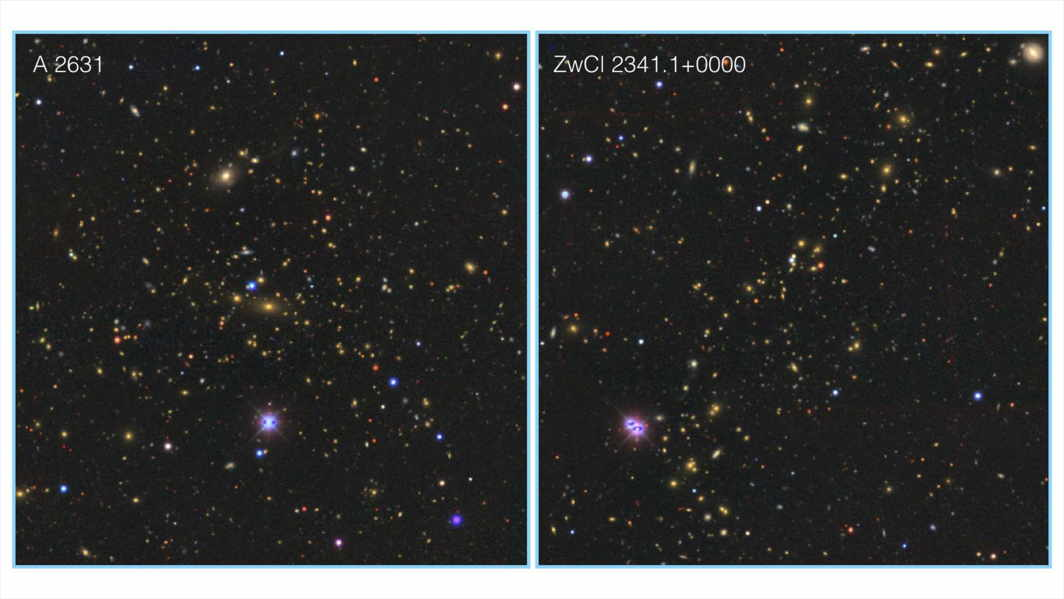 """Two most massive clusters of galaxies in the Saraswati supercluster : """"ABELL 2631"""" cluster (left) and """"ZwCl 2341.1+0000"""" cluster (right). """"ABELL 2631"""" resides in the core of the Saraswatisupercluster. The Saraswati supercluster has a total of 43 clusters of galaxies."""