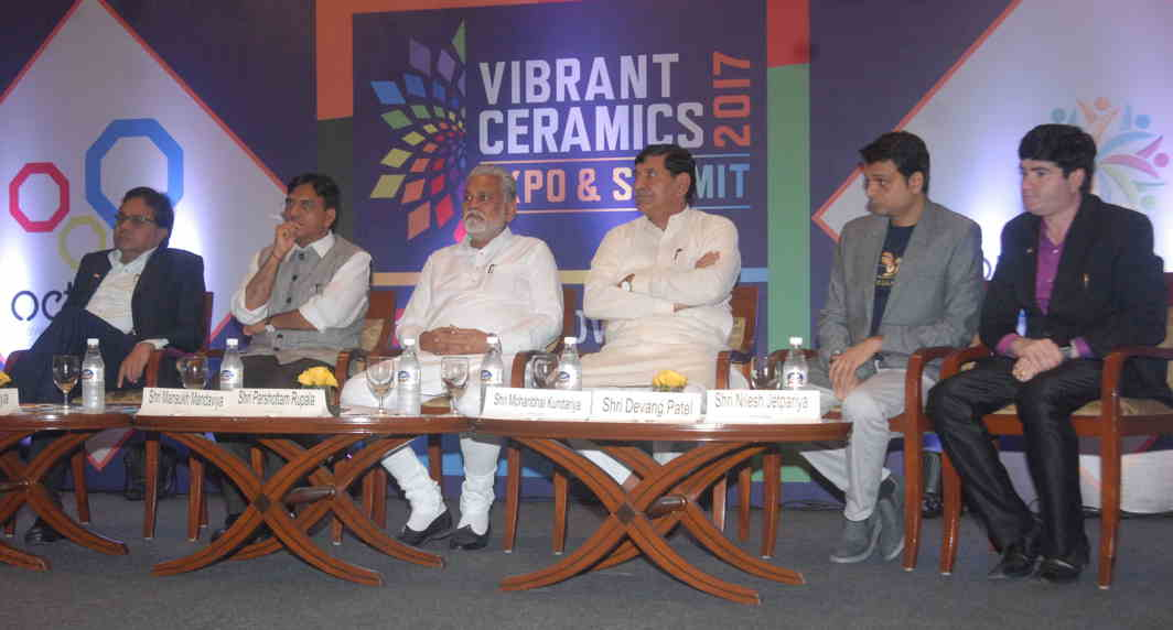 DUTY TO INFORM: Minister of state for road transport, highways and shipping and chemical and fertilisers Mansukhbhai Mandaviya, minister of state for agriculture cooperation and farmers welfare Parshottam Rupala and BJP MP Mohanbhai Kundaria at a curtain-raiser on Vibrant Ceramics 2017, Expo and Summit, to be held in Gandhinagar in November, UNI
