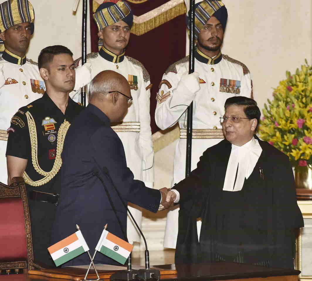 WELCOME CHIEF: President Ram Nath Kovind greets the Chief Justice of India, Justice Dipak Misra, after administering the oath of office to him, at a swearing-in ceremony at Rashtrapati Bhavan, in New Delhi, UNI