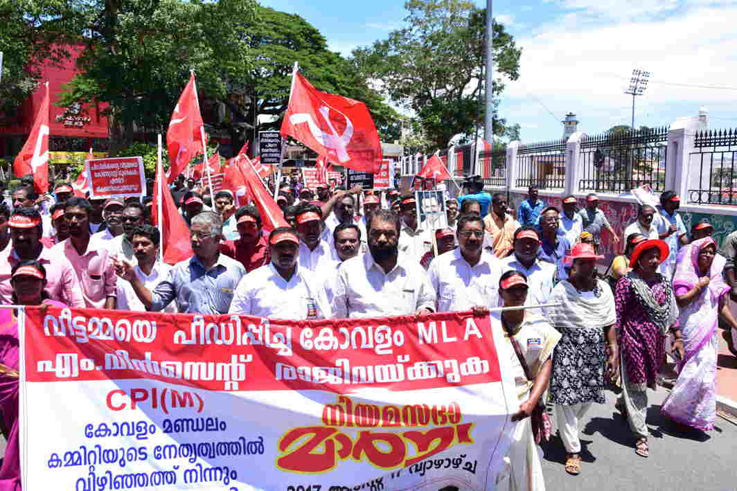ON THE STREETS: CPI(M) activists stage a protest march to Kerala assembly demanding resignation of Kovalam MLA M Vincent, who was arrested in a sexual harassment case, in Thiruvananthapuram, UNI