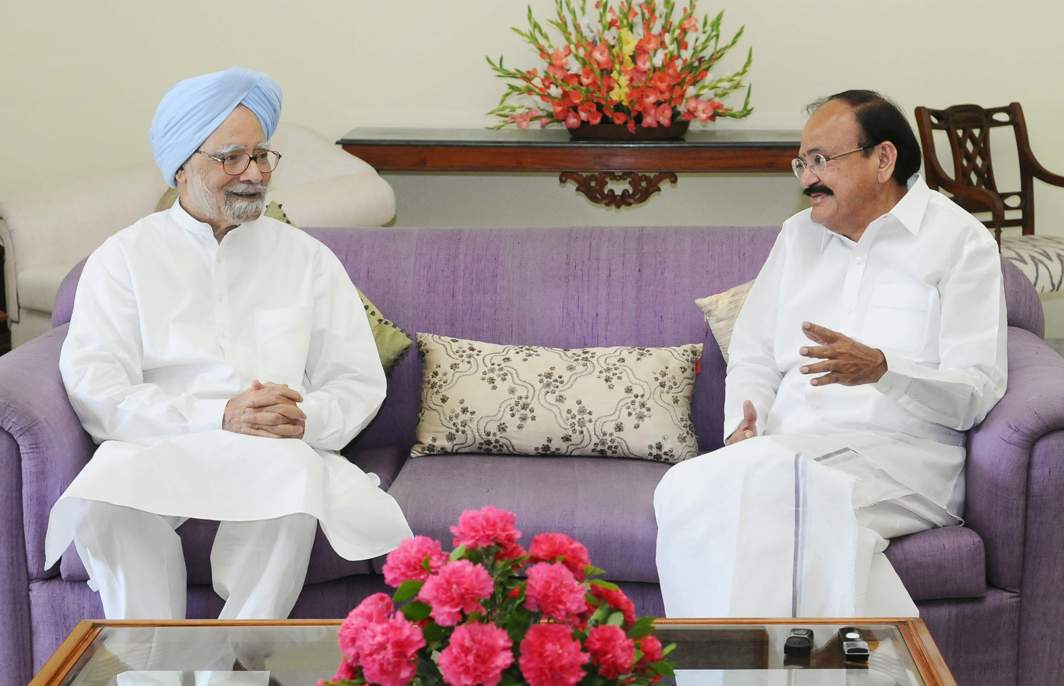 COURTESY VISIT: Former Prime Minister Manmohan Singh calls on Vice-President M Venkaiah Naidu, in New Delhi, UNI