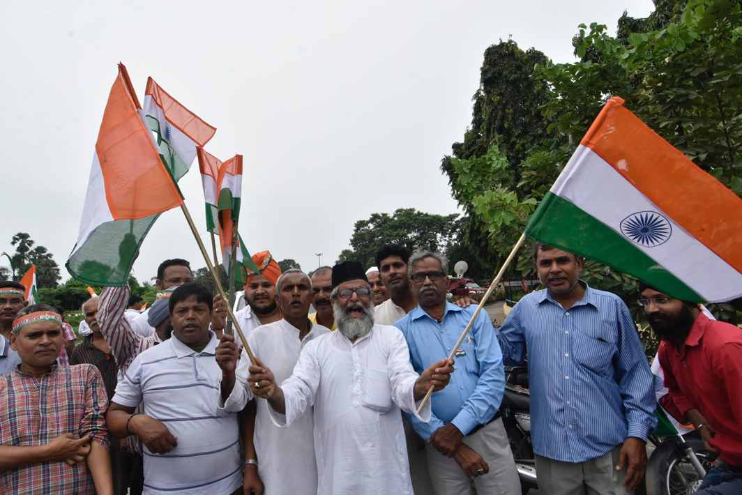 YOUR NATIONALISM AFTER MINE: BJP workers in front of Shaheed Smarak participate in a Tiranga Yatra to mark the 75th anniversary of the Quit India Movement in Patna, UNI
