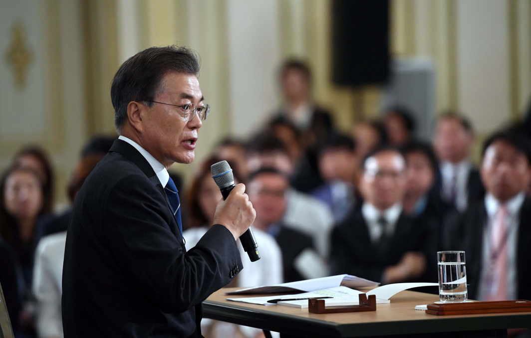 HAVE ARRIVED: South Korean President Moon Jae-In speaks during a press conference marking his first 100 days in office at the presidential house in Seoul, Reuters/UNI
