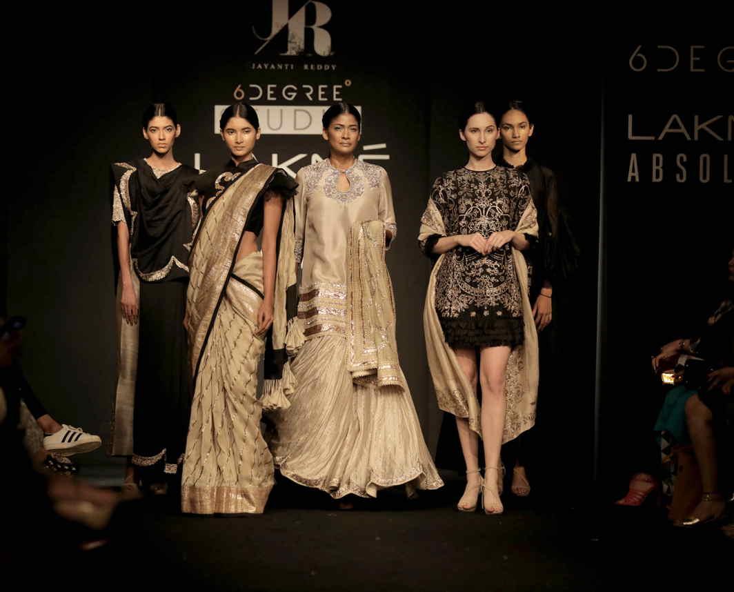 UNDER THE SPOTLIGHT: Models walk for designer Jayanti Reddy at Lakme Fashion Week 2017, in Mumbai, UNI