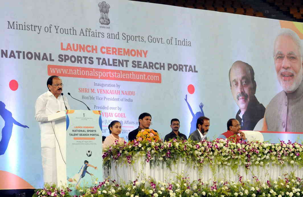 BETTER LATE THAN NEVER: Vice-President M Venkaiah Naidu addresses the gathering at an event to launch the National Sports Talent Search Portal, an initiative of the Union Ministry of Youth Affairs and Sports, in New Delhi, UNI