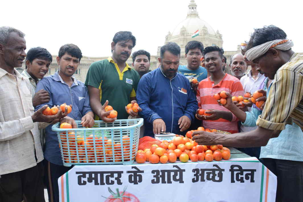 WHAT'S FOR DINNER? Congress activists stage a protest over soaring prices of tomato, in front of Uttar Pradesh Assembly in Lucknow, UNI