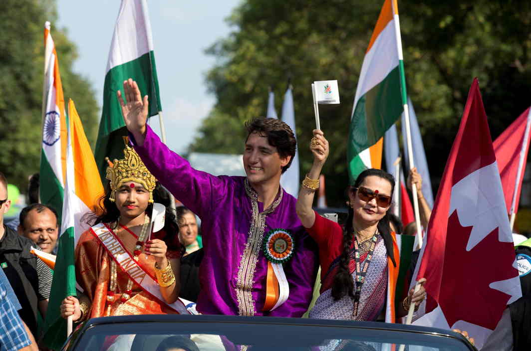 HANDSOME PM: Canada's Prime Minister Justin Trudeau (C) participates in the India Day Parade in Montreal, Quebec, Canada, Reuters/UNI