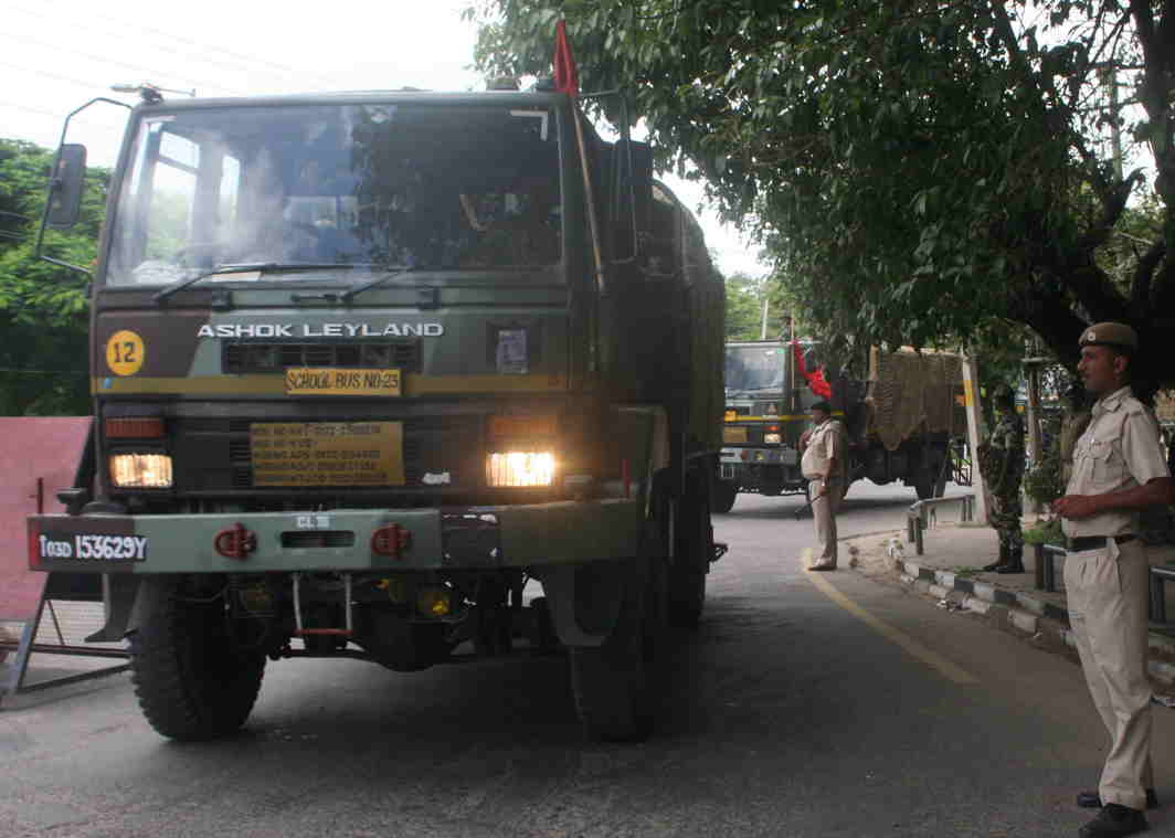 FOR PEACE: Military vehicles during a flag march being conducted as a precautionary measure in view of the sentencing of Dera Sachcha Sauda chief Baba Gurmeet Ram Rahim Singh, UNI