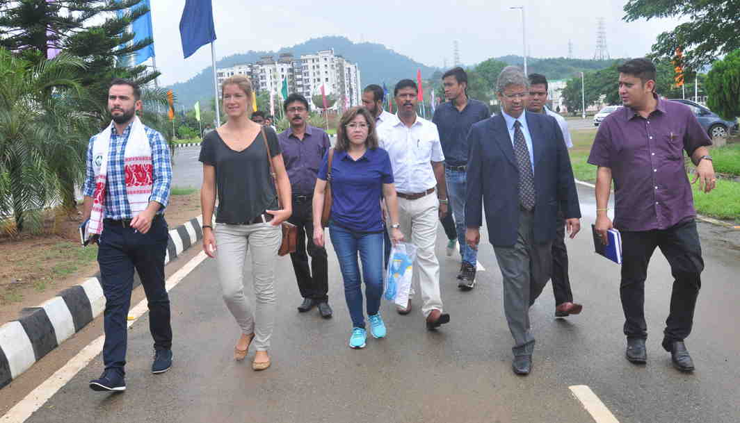 LET'S BOX: Breno Ponte (left), senior competition manager, AIBA, along with Maruska Perrion, competition coordinator, AIBA (2ndL) and Shelly Miranda, supervisor of the championship, and other delegates inspect the Indira Gandhi Athletic Stadium in Guwahati the venue for International Boxing Championship, UNI