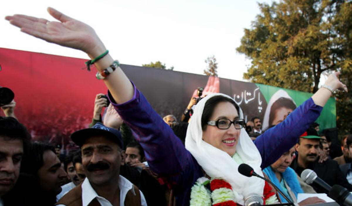 Benazir Bhutto at her Liaquat Bagh rally minutes before she was assassinated