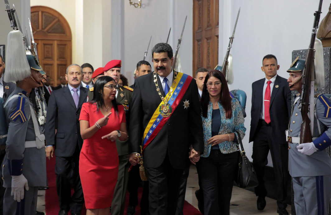 GREAT DICTATOR: Venezuelan president Nicolas Maduro (C), his wife Cilia Flores (front R) and National Constituent Assembly President Delcy Rodriguez (front L), arrive for a session of the assembly at Palacio Federal Legislativo in Caracas, Venezuela, Reuters/UNI