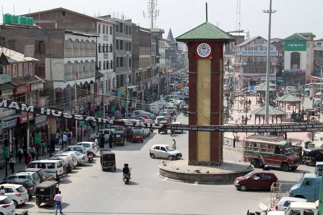 LIFE, INTERRUPTED: An aerial view of Lal Chowk, the business hub in Srinagar, with shops opening after remaining closed for a day during strike called by KMTF, UNI