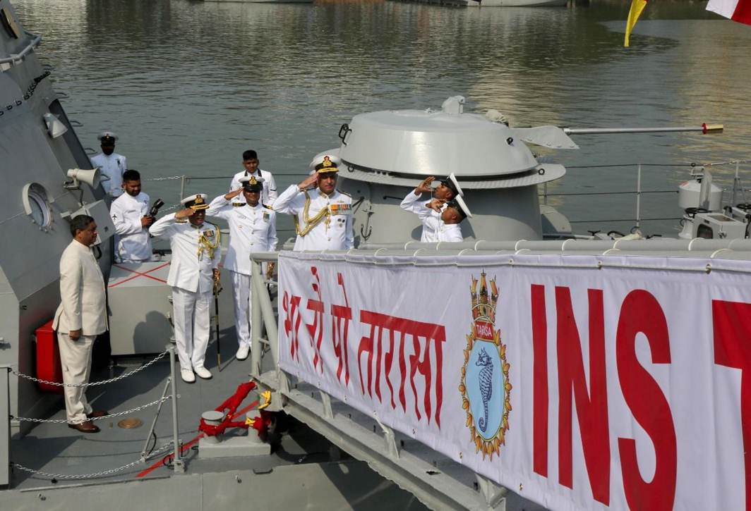 WATER POWER: INS Tarasa, a water jet fast attack craft commissioned into the Indian Navy by Vice-Admiral Girish Luthra, Flag Officer Commanding-in-Chief, Western Naval Command at the naval dockyard, Mumbai, UNI