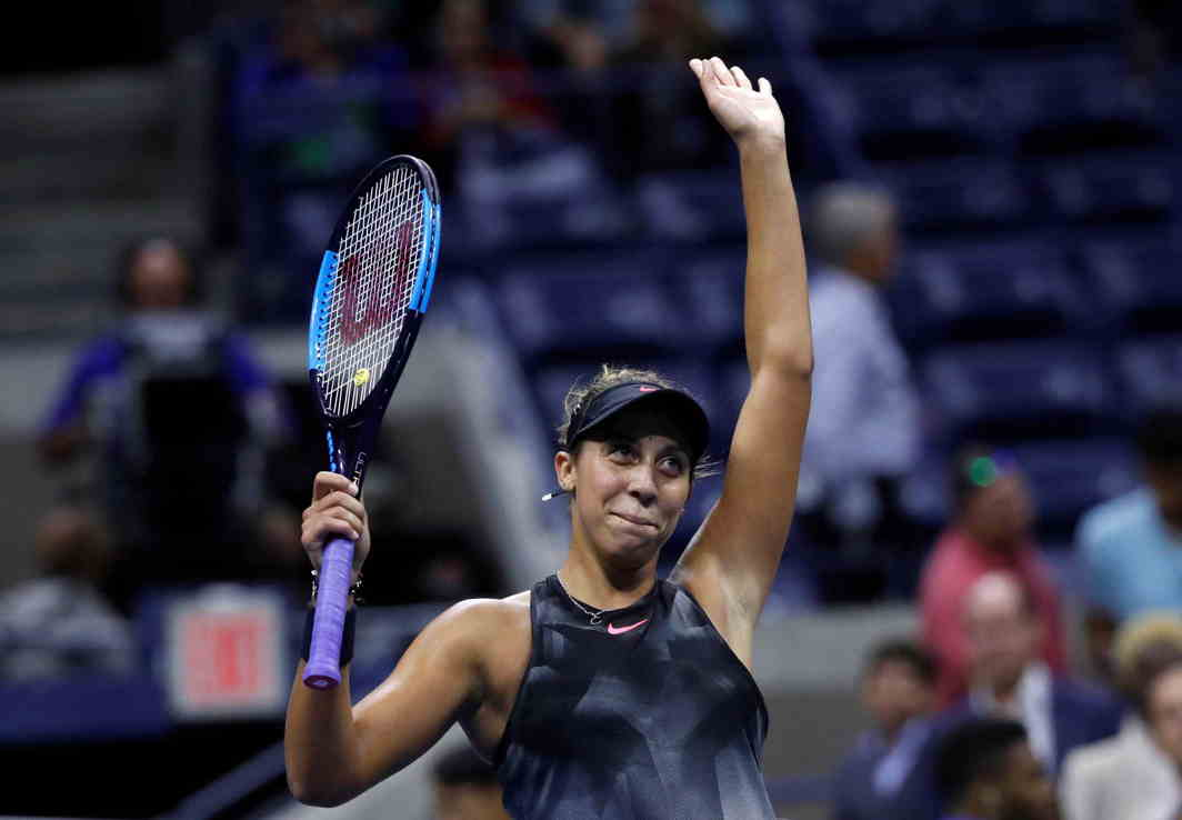 FIRST APPEARANCE: Madison Keys of the United States celebrates after defeating Coco Vandeweghe in the US Open semifinals in New York Flushing Meadows, Reuters/UNI
