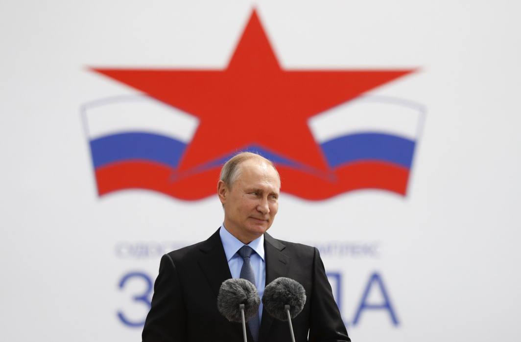 HEAR ME: Russian President Vladimir Putin delivers a speech as he visits the Zvezda shipyard in the far eastern town of Bolshoy Kamen, Russia, Reuters/UNI