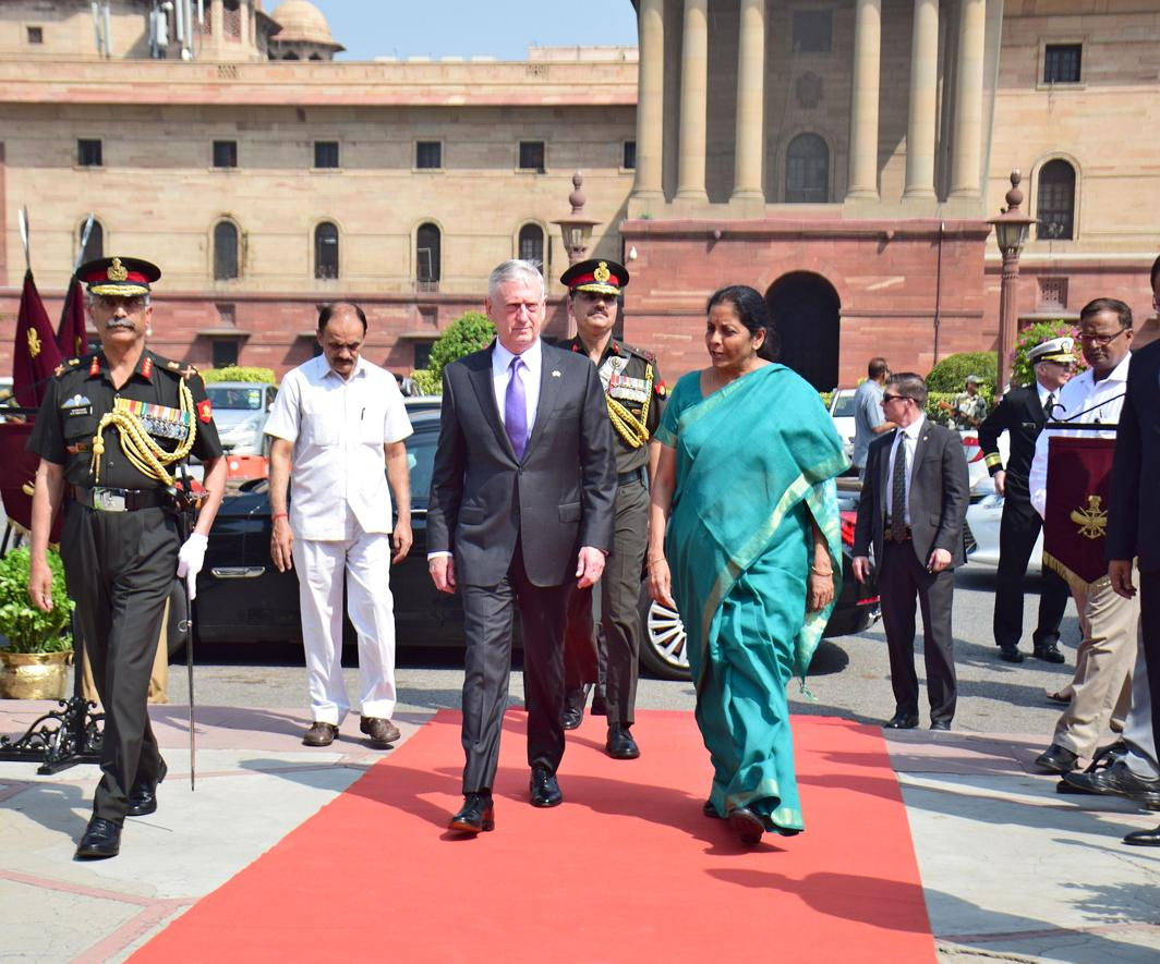 MUCH TO TALK ABOUT: US secretary of defence James Mattis being received by defence minister Nirmala Sitharaman at South Block for a meeting in New Delhi, UNI