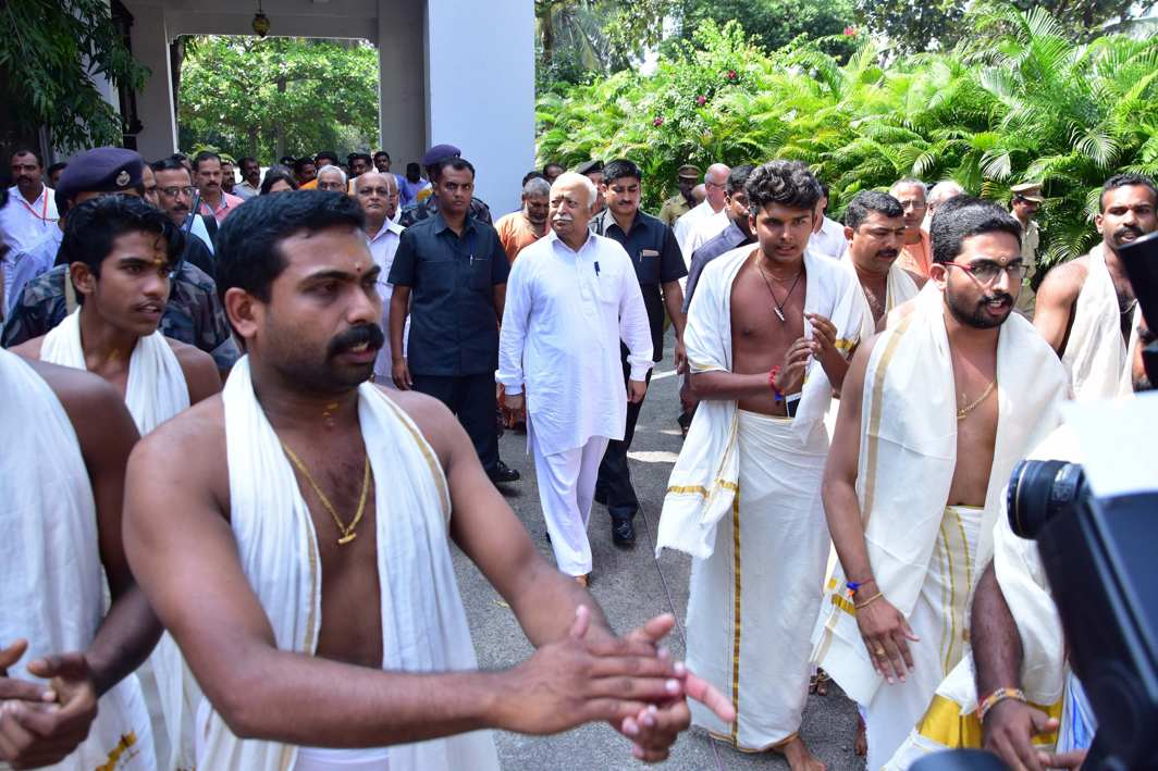 NAMASTE: Rashtriya Swayamsevak Sangh (RSS) chief Mohan Bhagwat being given a traditional welcome on his arrival in connection with the 90th birth anniversary celebration of RSS idealogue P Parameswaran, in Thiruvananthapuram, UNI