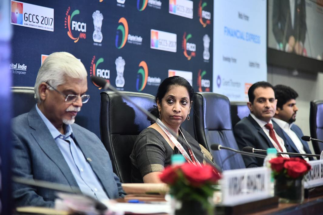 WAITING TO PARLEY: (L-R) Sanjaya Baru, secretary general, FICCI, and Aruna Sundararajan, secretary, department of telecommunications, at an 'i-Bharat' conference organised by FICCI and ministry of electronics and information technology, in New Delhi, UNI