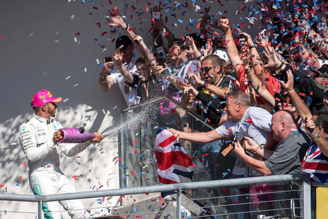 SILVER SOAK: Mercedes driver Lewis Hamilton (44) of Great Britain celebrates winning the United States Grand Prix at Circuit of the Americas, Jerome Miron/USA Today Sports/Reuters/UNI