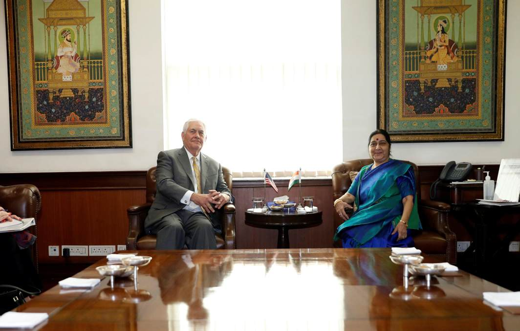 AHEAD OF PARLEY: US secretary of state Rex Tillerson meets his Indian counterpart, Sushma Swaraj, at the Indian foreign ministry in New Delhi, India, Reuters/UNI