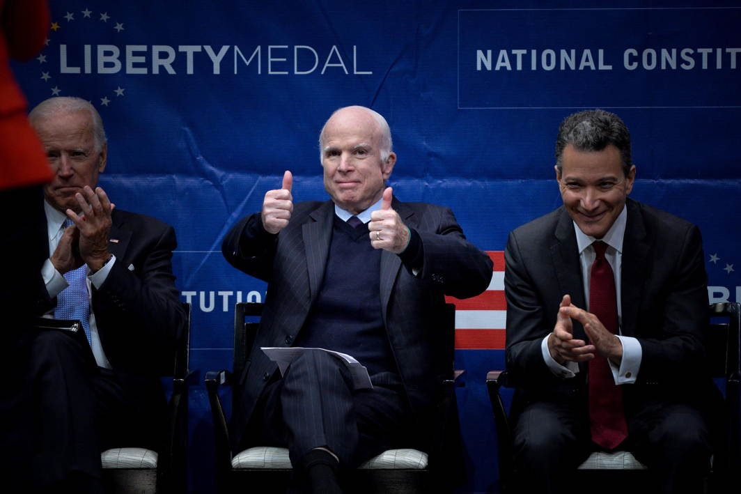 MAN OF THE MOMENT: US Senator John McCain (R-AZ) gives a thumbs up to the crowd before being awarded the 2017 Liberty Medal by former US Vice President Joe Biden at the Independence Hall in Philadelphia, Pennsylvania, Reuters/UNI