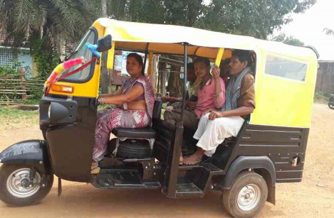 BEHIND THE WHEEL: Sheela Sethia drives an auto at Balrajpur in Chhattisgarh's Kondagaon district, UNI