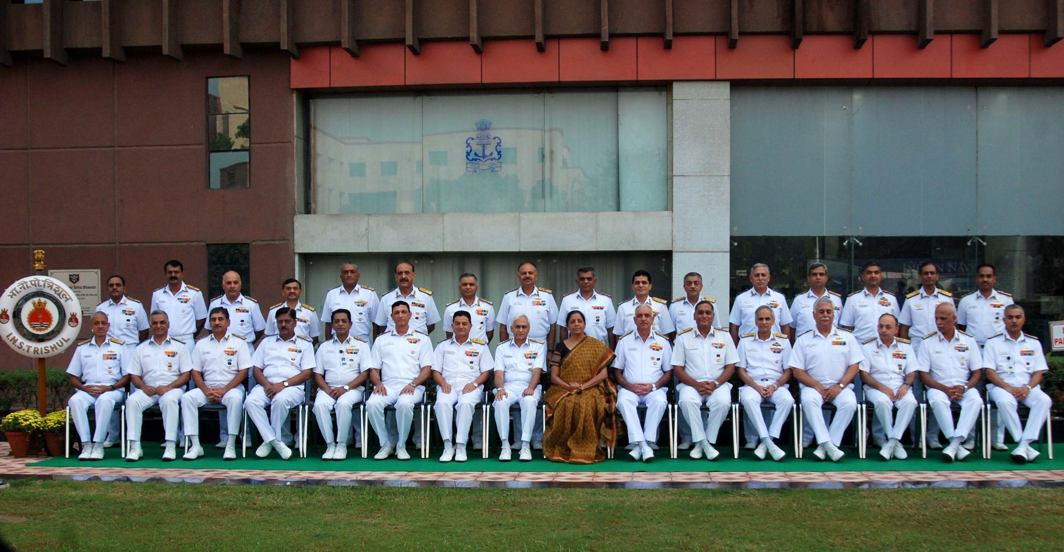 PICTURE PERFECT: Defence minister Nirmala Sitharaman poses for a photograph with naval commanders before addressing the Naval Commanders' Conference, in New Delhi, UNI