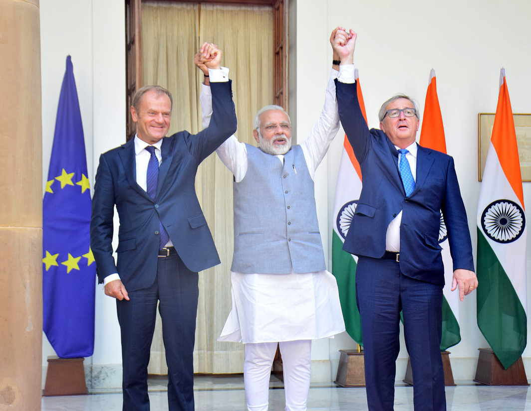 BRO LOVE: Prime Minister Narendra Modi meets Donald Franciszek Tusk, president of the European Council, and Jean-Claude Juncker, president of the European Commission, in New Delhi, UNI