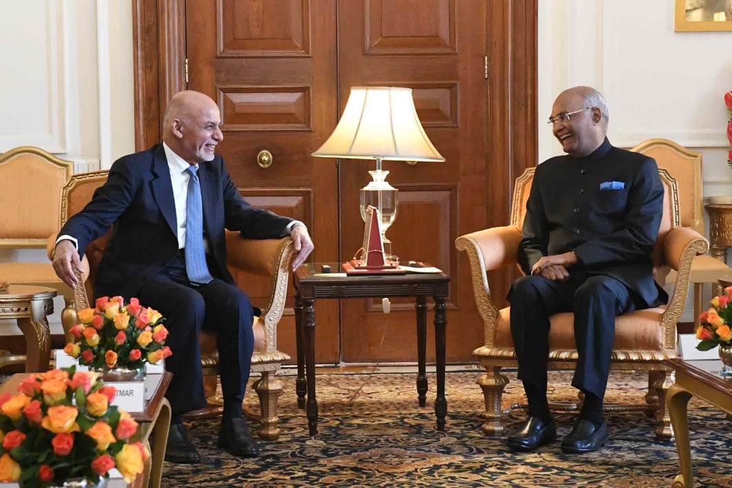 HELLO: President of the Islamic Republic of Afghanistan Ashraf Ghani calls on Ramnath Kovind, his Indian counterpart, at Rashtrapati Bhavan in New Delhi, UNI