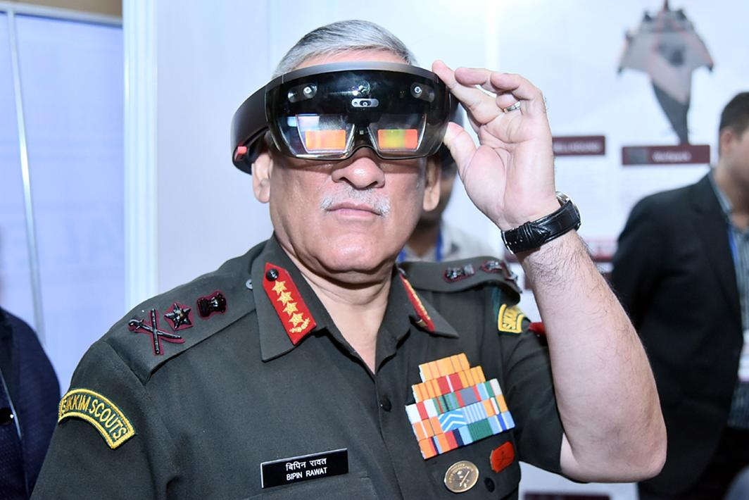 CHIEF'S DAY OUT: Chief of the Army Staff, General Bipin Rawat, at an exhibition stalls set up on the sidelines of a seminar on Solution to Problem Statements organised by FICCI in New Delhi, UNI