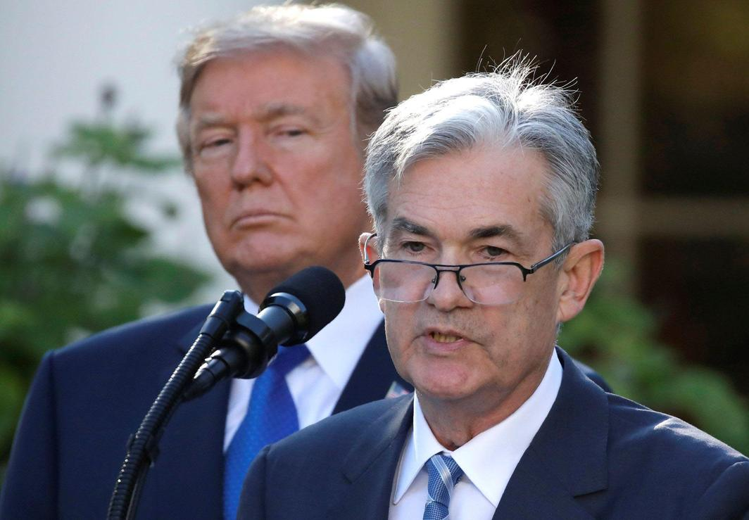 BLESS YOU: US President Donald Trump looks on as Jerome Powell, his nominee to become chairman of the US Federal Reserve, speaks at the White House in Washington, US, Reuters/UNI