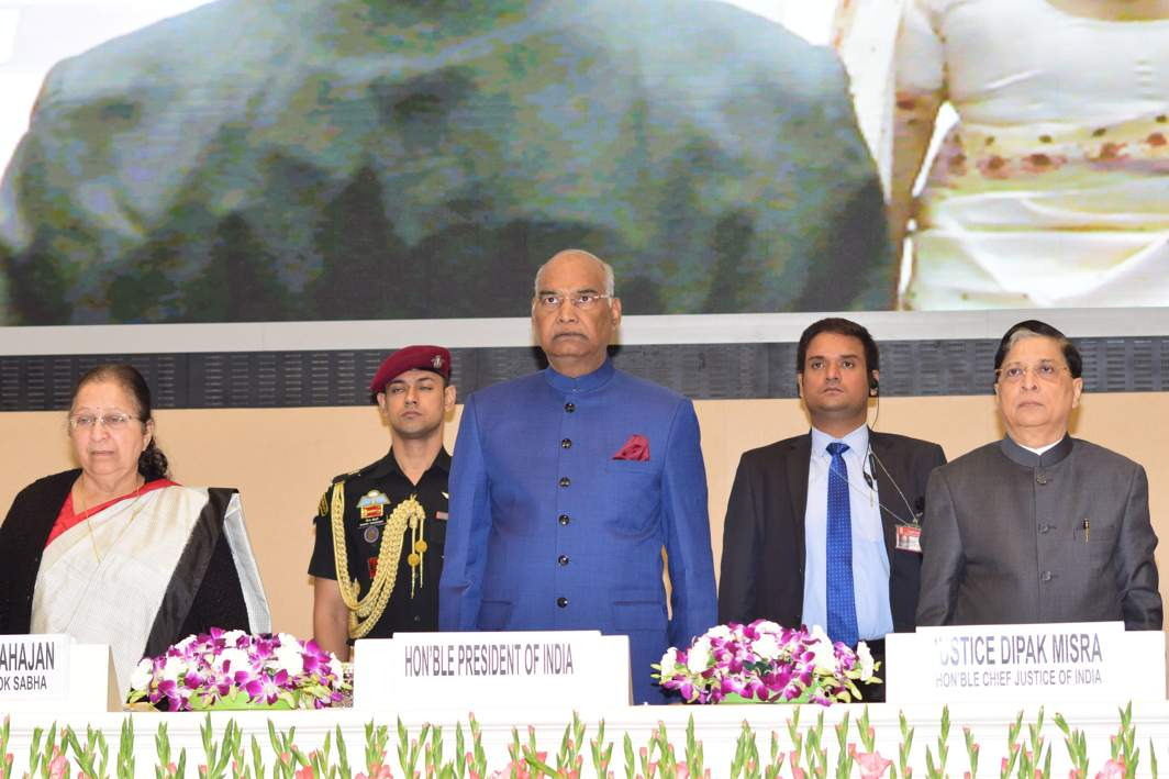 ABIDE BY IT: President Ram Nath Kovind, Chief Justice of India Dipak Mishra and Lok Sabha Speaker Sumitra Mahajan at the inaugural function of the National Law Day, 2017, in New Delhi, UNI