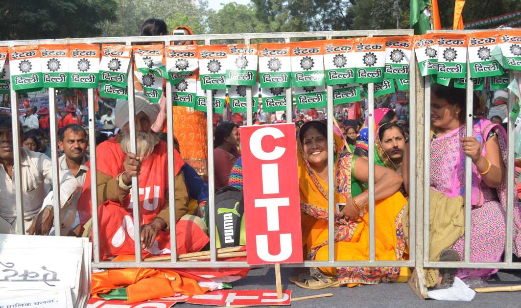 WOMEN ON STRIKE: Members of various trade unions participates in a serial dharna on the second day of the three-day protest against the alleged anti-national policies of the government, at Parliament Street in New Delhi, UNI
