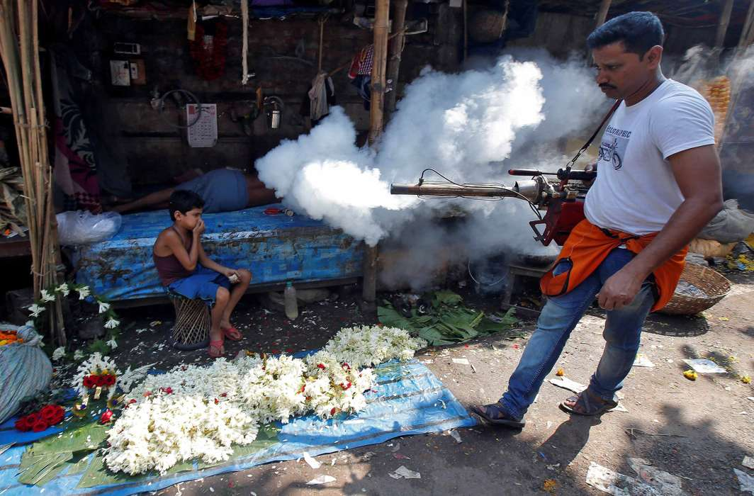 HEALTH HAZARD: A boy covers his nose as a municipal worker fumigates a market to prevent the spread of dengue fever and other mosquito-borne diseases in Kolkata, Reuters/UNI