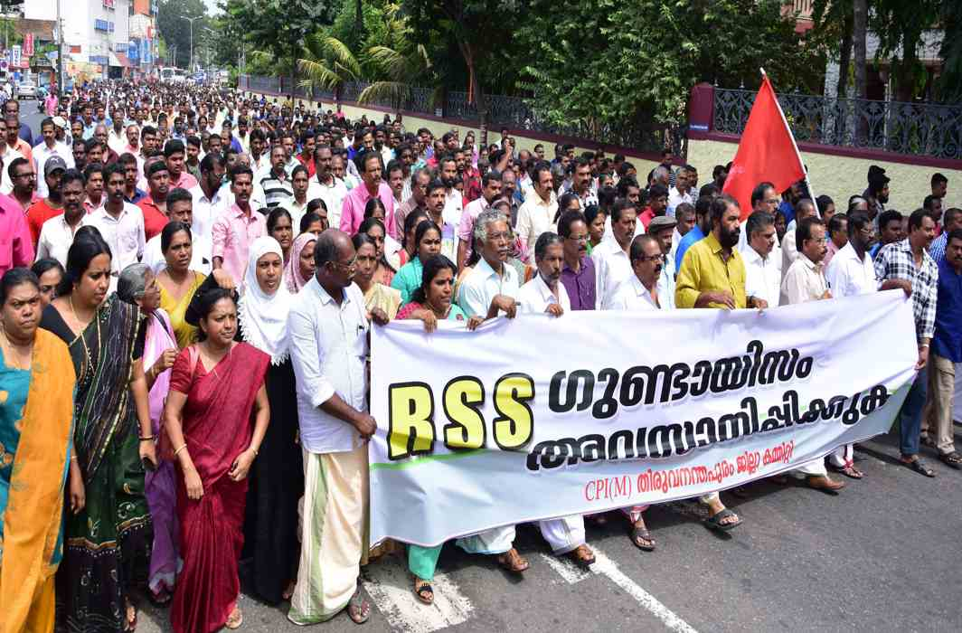 WALK ON: CPI(M) activists take out a march to the secretariat in protest against attacks on the party offices and atrocities in which their leader and Mayor VK Prasanth got injured, in Thiruvananthapuram, UNI