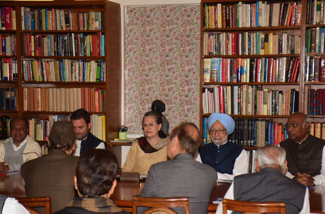 TRANSITION TALK: Congress president Sonia Gandhi chairs the Congress Working Committee meeting at her 10 Janpath residence in New Delhi. Former Prime Minister Manmohan Singh and Congress vice-president Rahul Gandhi are also seen, UNI