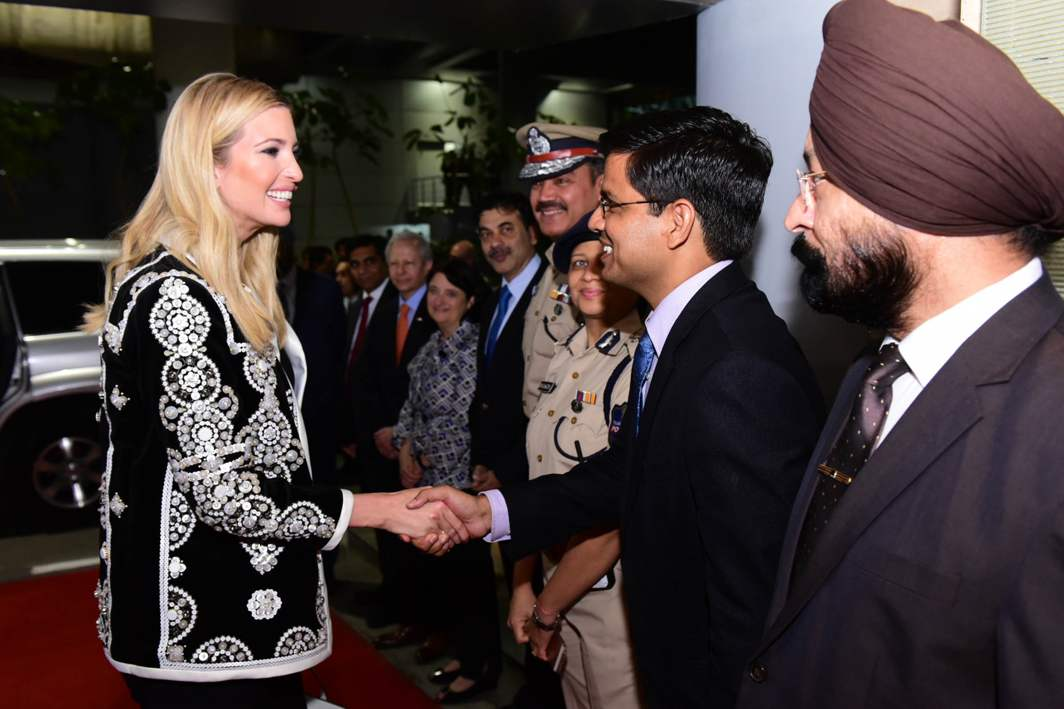 AMERICAN PRINCESS: Ivanka Trump, advisor to US President Donald Trump, is welcomed on her arrival at Hyderabad international airport to participate in the eighth edition of Global Entrepreneurship Summit 2017, UNI
