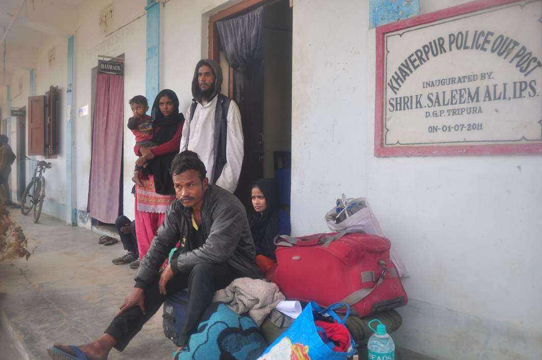 DRIFTERS: A few of the eight Rohingya refugees post arrest by Tripura Police at Khayerpur area in Agartala while on their way to Guwahati, UNI