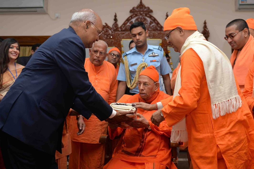 AT HOME WITH THE ASCETICS: President Ram Nath Kovind honours the president of Ramakrishna Mission and Math during his visit at Belur Math in Howrah, West Bengal, UNI