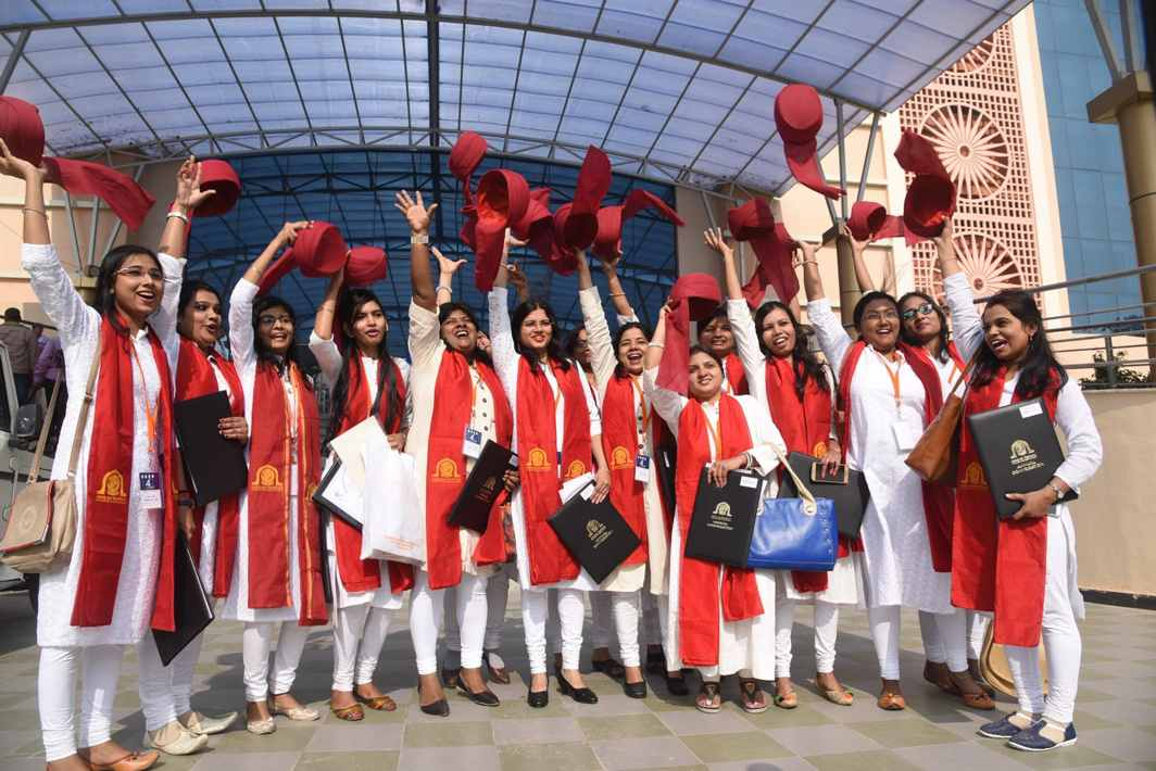 MAKING MEMORIES: Students of Aryabhatta Knowledge University celebrate during the 4th convocation of their university in Patna, UNI