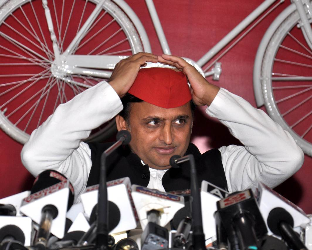 HEAR ME: Samajwadi Party president Akhilesh Yadav addresses a press conference at party office in Lucknow, UNI