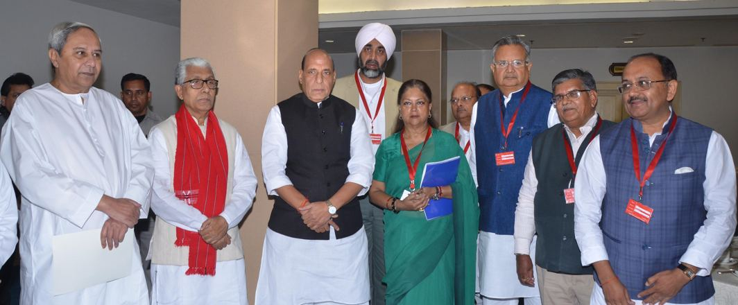 STAND TOGETHER: Union Home Minister Rajnath Singh poses for a photograph with chief ministers of Odisha Naveen Patnaik, Tripura Manik Sarkar, Rajasthan Vasundhara Raje, Chhattisgarh Raman Singh and others prior to chair the 12th Standing Committee meeting of the Inter-State Council in New Delhi, UNI